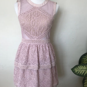 BCBG Lavender Lace Cut out Party Dress